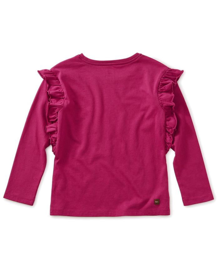 Little tea collection girl solid ruffle sleeve top in bouquet