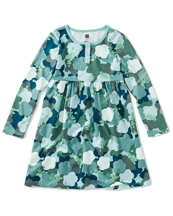 Little tea collection girl 2 sparkle henley dress in floral camo