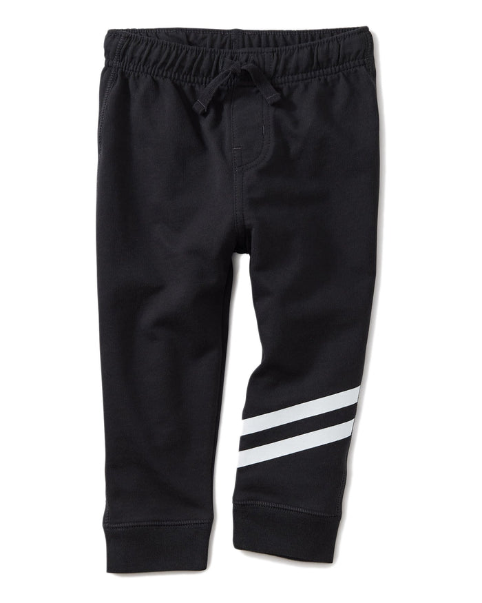 Little tea collection baby boy speedy striped baby joggers in jet black