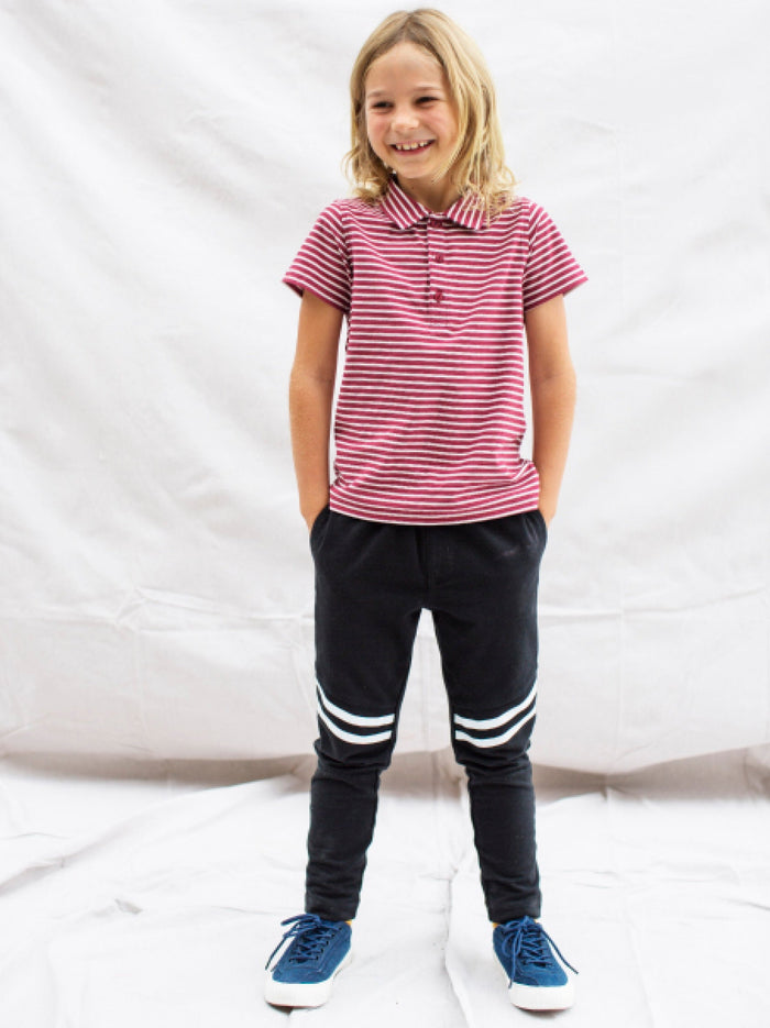 Little tea collection boy Speedy Striped Play Pant in Jet Black