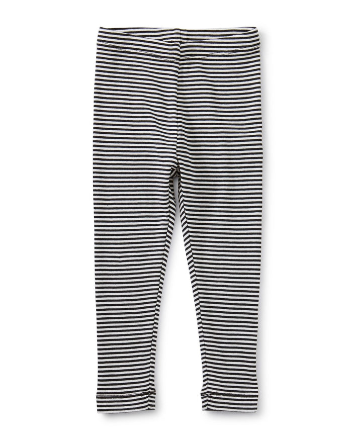 Little tea collection baby girl striped baby leggings in jet black