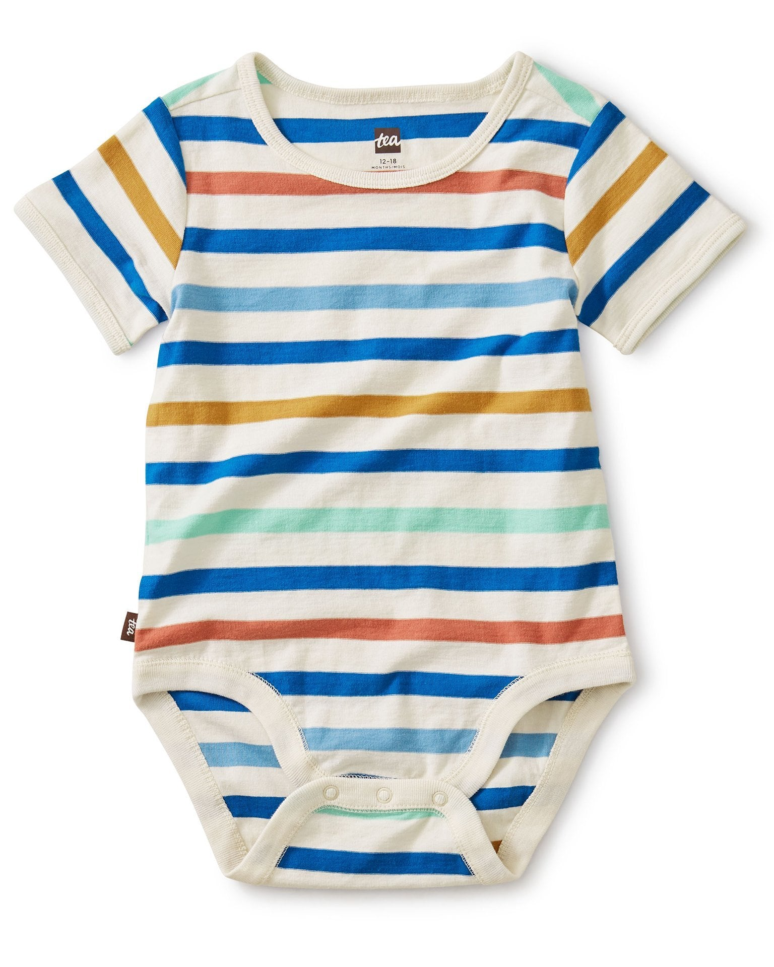 Little tea collection baby boy striped bodysuit in birch