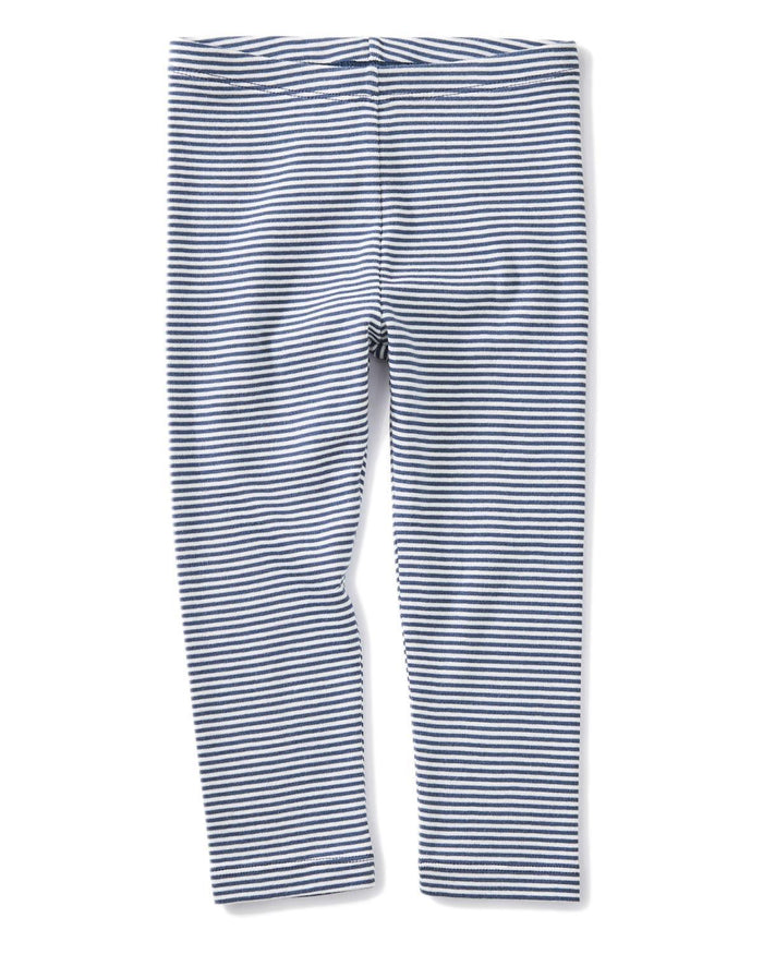 Little tea collection girl 10 striped capri leggings in crown blue