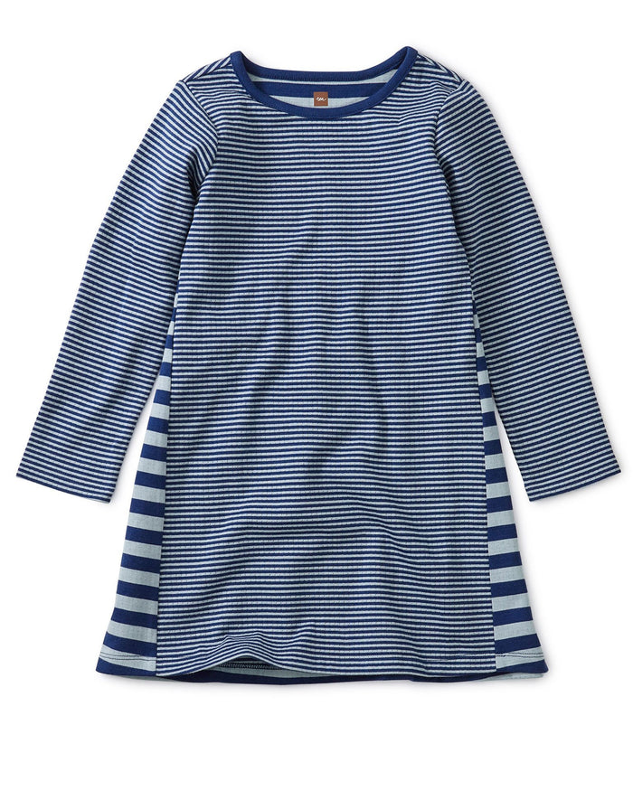 Little tea collection girl striped double knit dress in nightfall