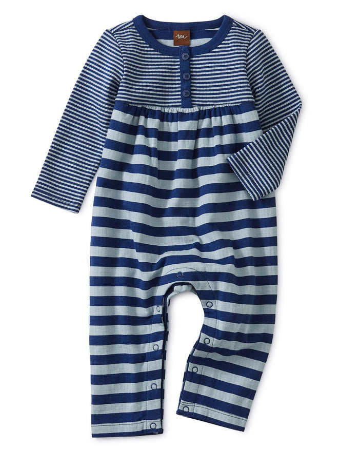 Little tea collection baby girl striped double knit romper in nightfall