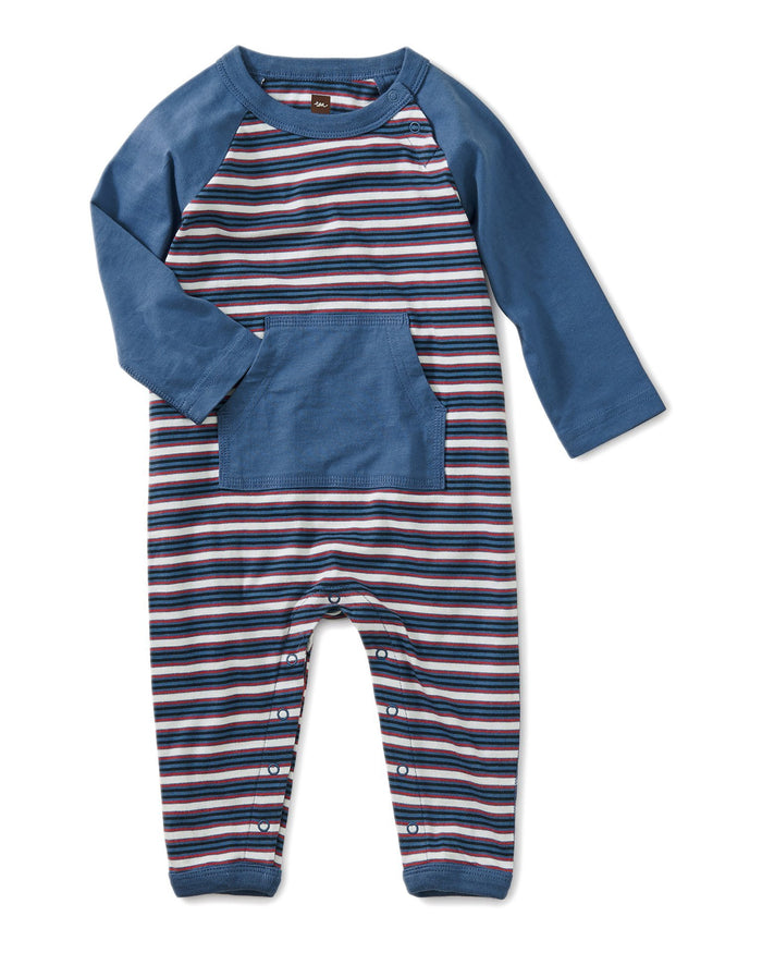 Little tea collection baby boy striped kanga pocket raglan romper