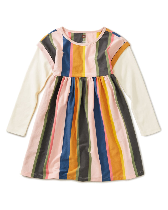 Little tea collection girl striped layered sleeve dress in festival stripe