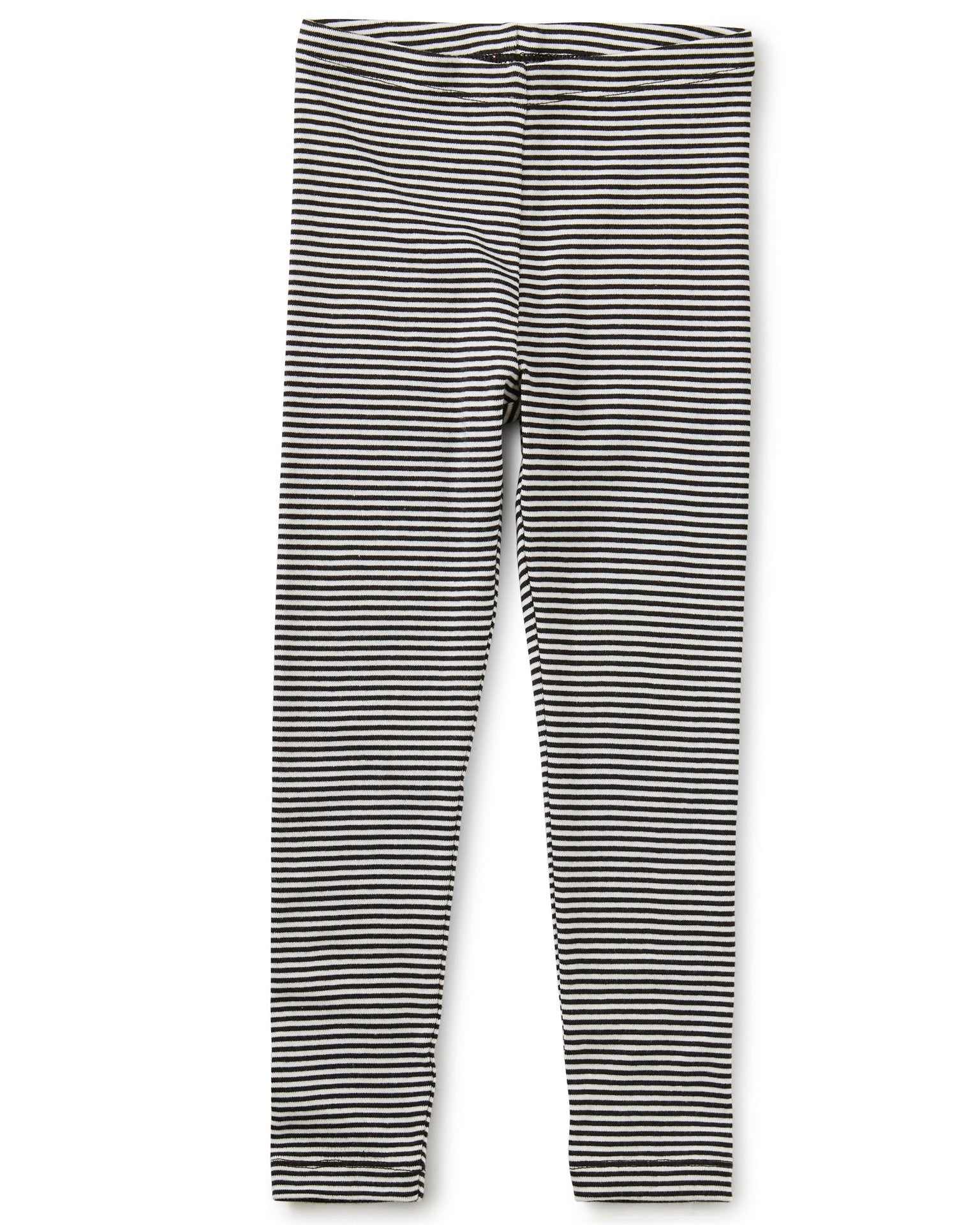 Little tea collection girl striped leggings in jet black