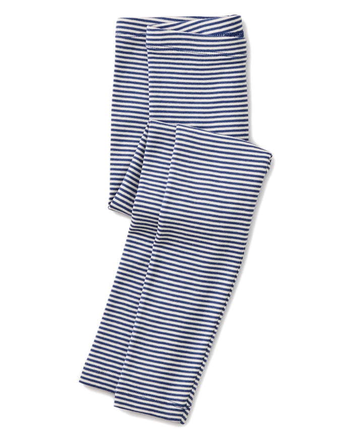 Little tea collection girl striped leggings in majorelle blue