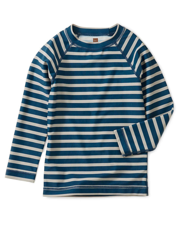 Little tea collection boy striped long sleeve rash guard in aquatic stripes