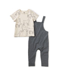 Little tea collection baby boy Striped Overall Set in Llama Love