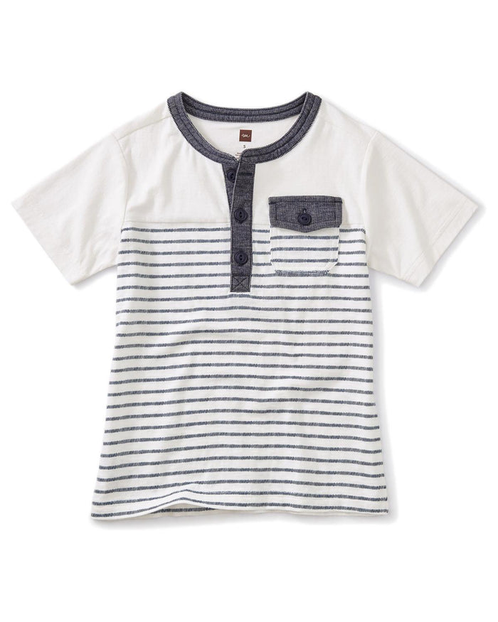 Little tea collection boy 10 striped pocket henley