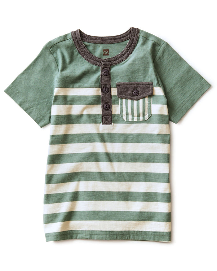 Little tea collection boy striped pocket henley in sagebrush