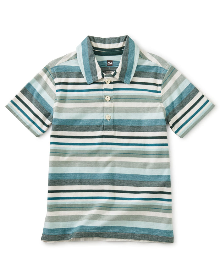 Little tea collection boy striped polo in sea