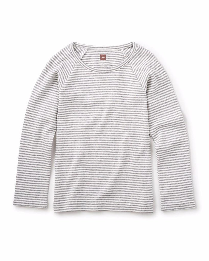 Little tea collection girl Striped Purity Tee in Medium Heather Grey