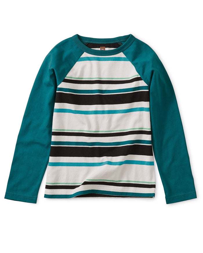 Little tea collection boy striped raglan tee in vapor