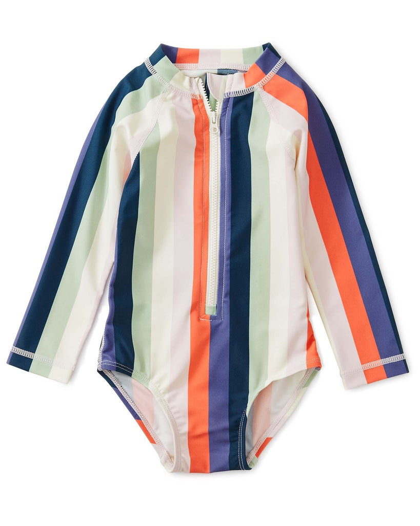 Little tea collection baby girl striped rash guard one-piece in striped right
