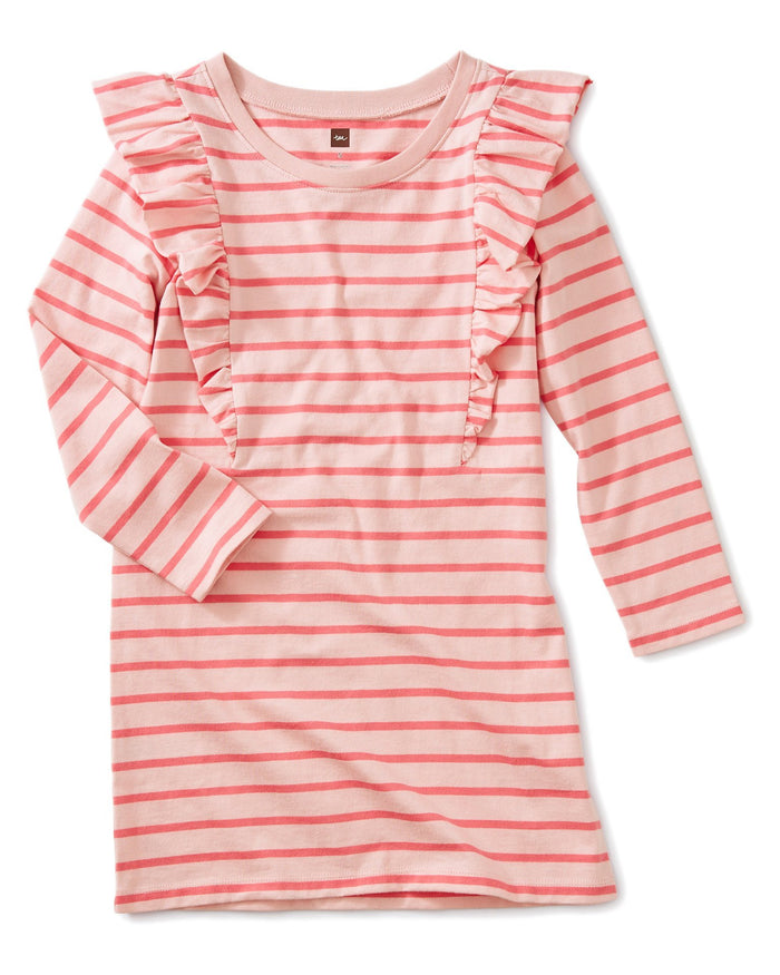 Little tea collection girl striped ruffle dress in apple blossom