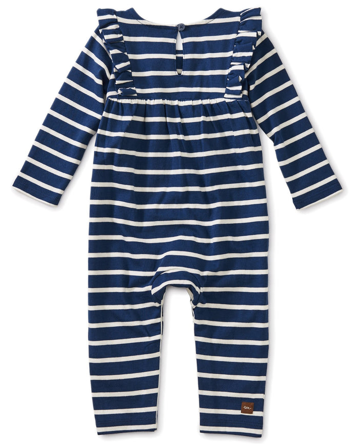 Little tea collection baby girl striped ruffle romper in nightfall