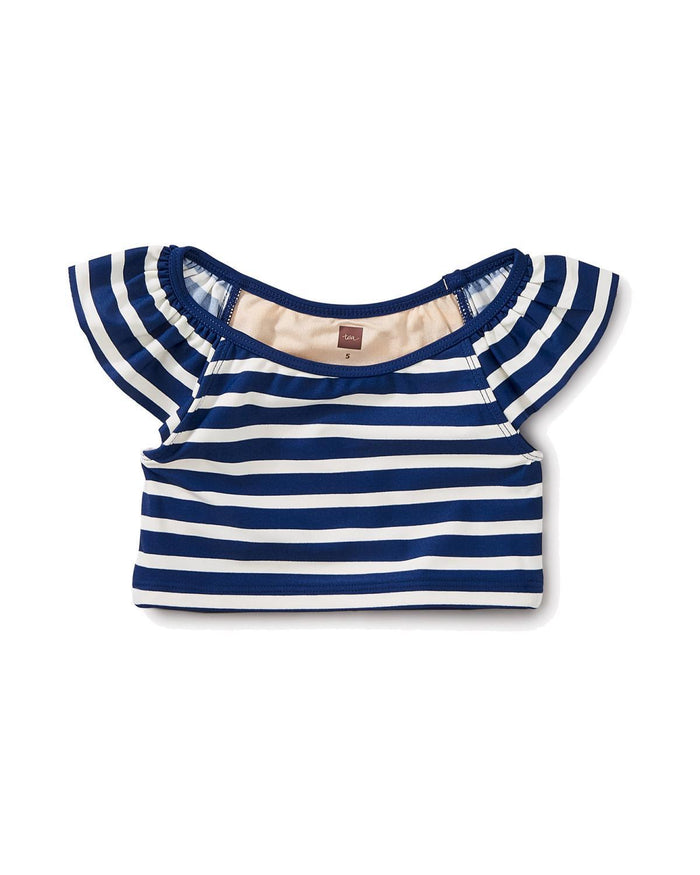 Little tea collection girl 2 striped ruffle tankini