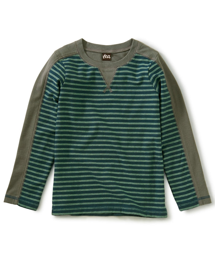 Little tea collection boy striped sporty top in bedford blue