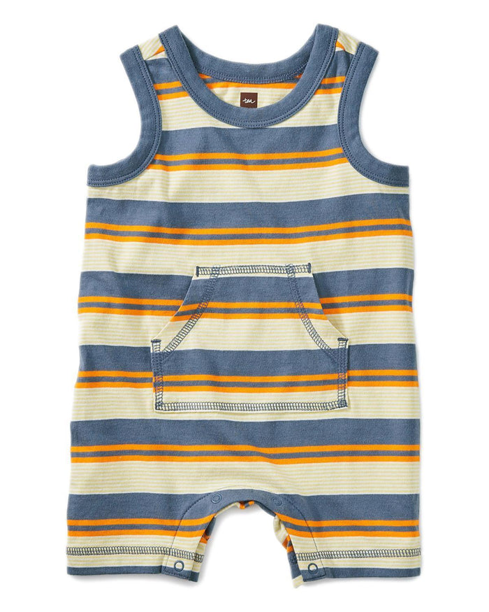 Little tea collection baby boy 0-3 striped tank romper