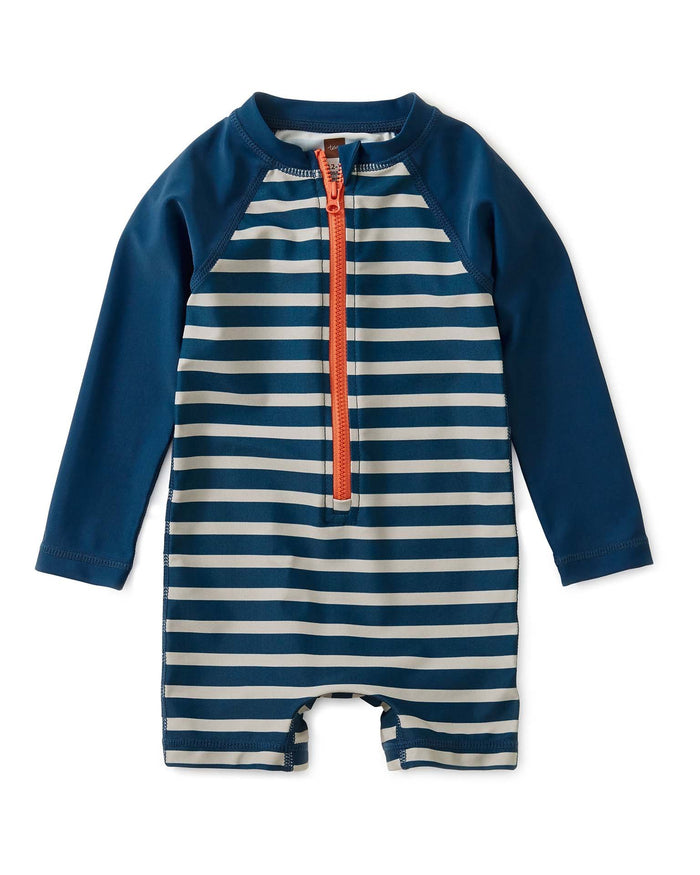 Little tea collection baby boy striped zip rash guard in aquatic stripe