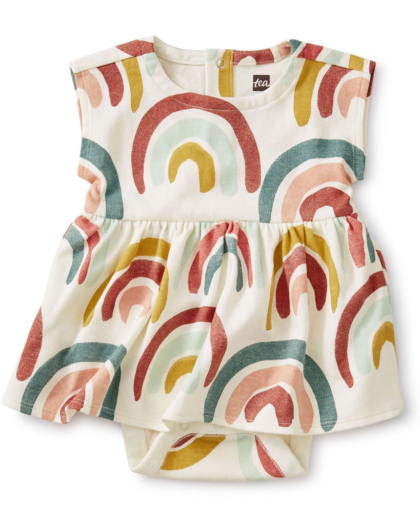 Little tea collection layette sweet sightings baby dress in rainbows
