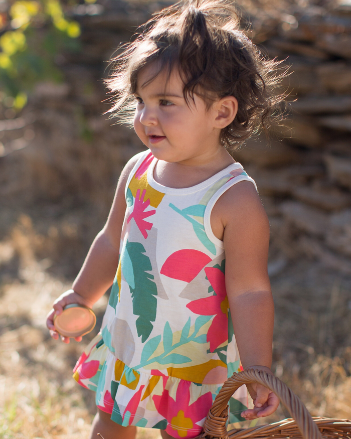 Little tea collection baby tank baby dress in oasis floral