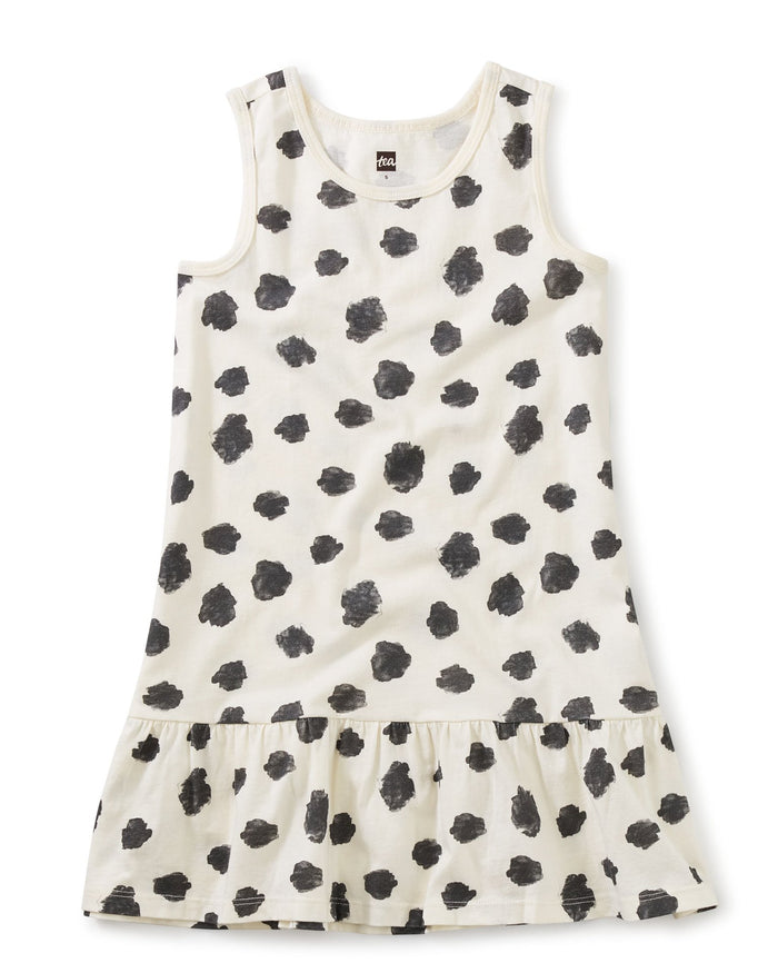 Little tea collection girl tank dress in ink polka dots in chalk