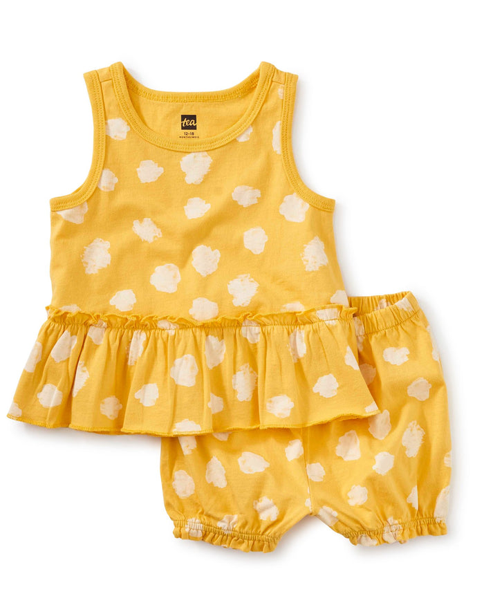 Little tea collection baby girl tank ruffle baby set in ink polka dots