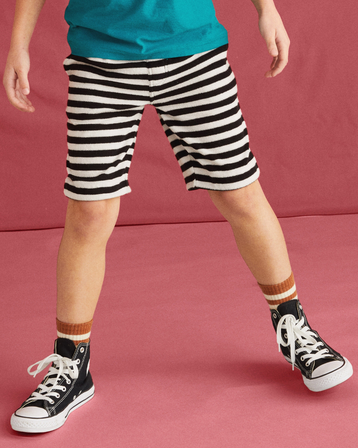 Little tea collection boy terry striped vacation shorts in jet black