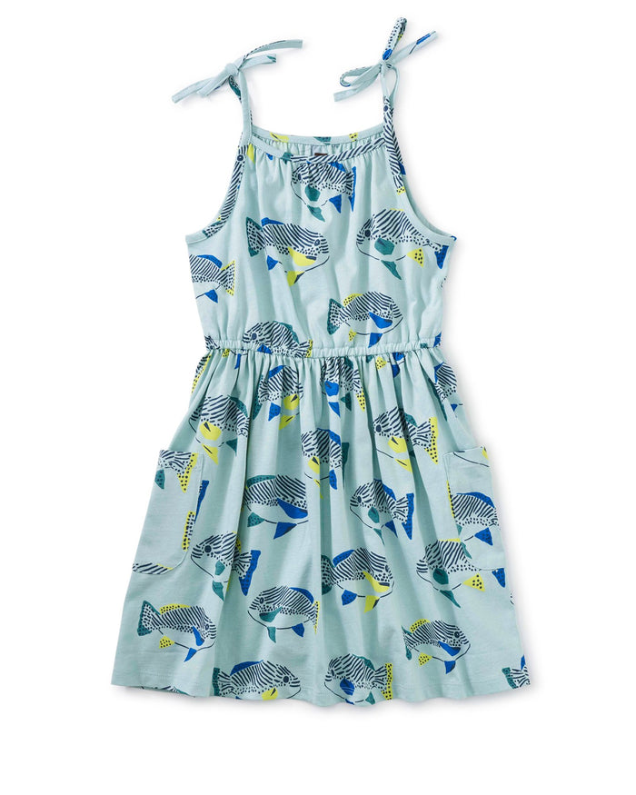 Little tea collection girl tie shoulder dress in fresh fish