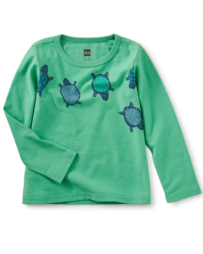 Little tea collection baby boy totally turtle graphic tee