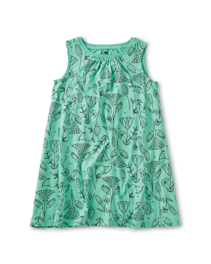Little tea collection girl trapeze dress in pharaonic floral cascade