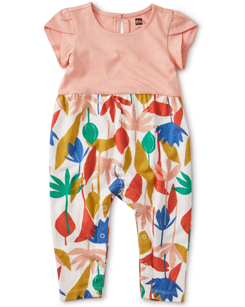 Little tea collection baby girl tulip sleeve romper in egyptian floral
