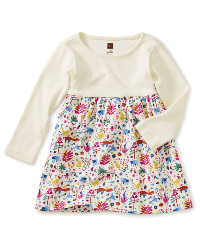 Little tea collection baby girl two-tone baby dress in mountain menagerie