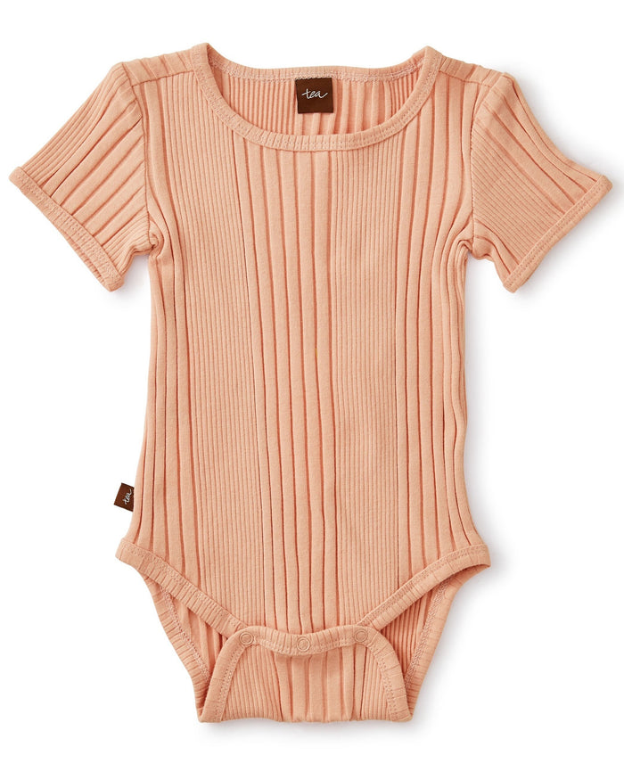 Little tea collection baby girl variegated rib bodysuit in dusty coral