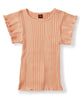 Little tea collection girl variegated rib flutter top in dusty coral
