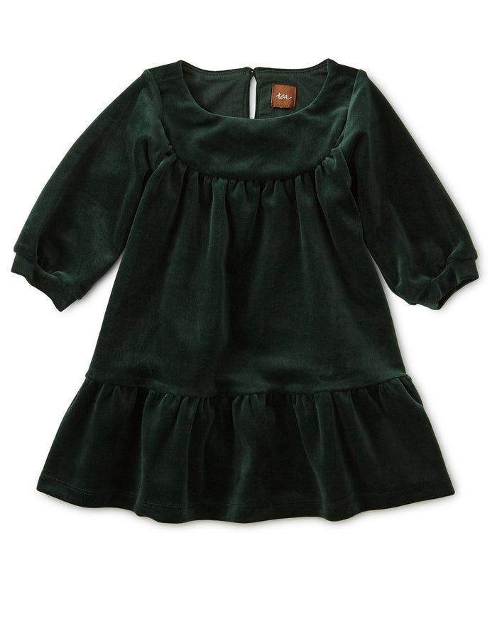 Little tea collection baby girl velour ruffle baby dress