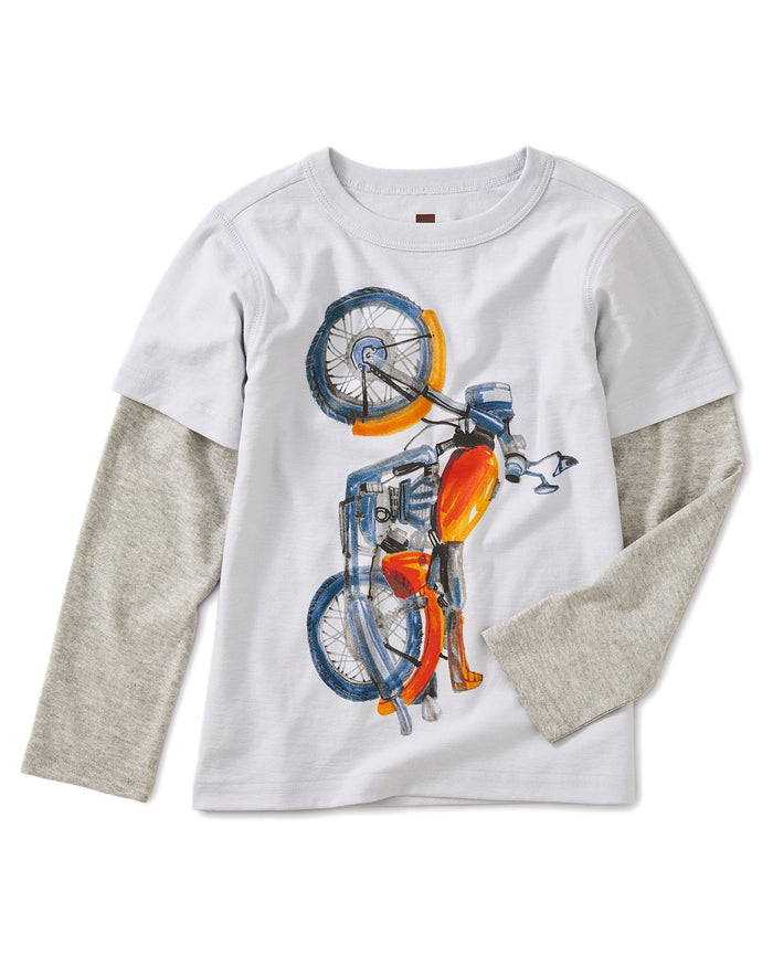 Little tea collection boy vertical moto graphic layered tee