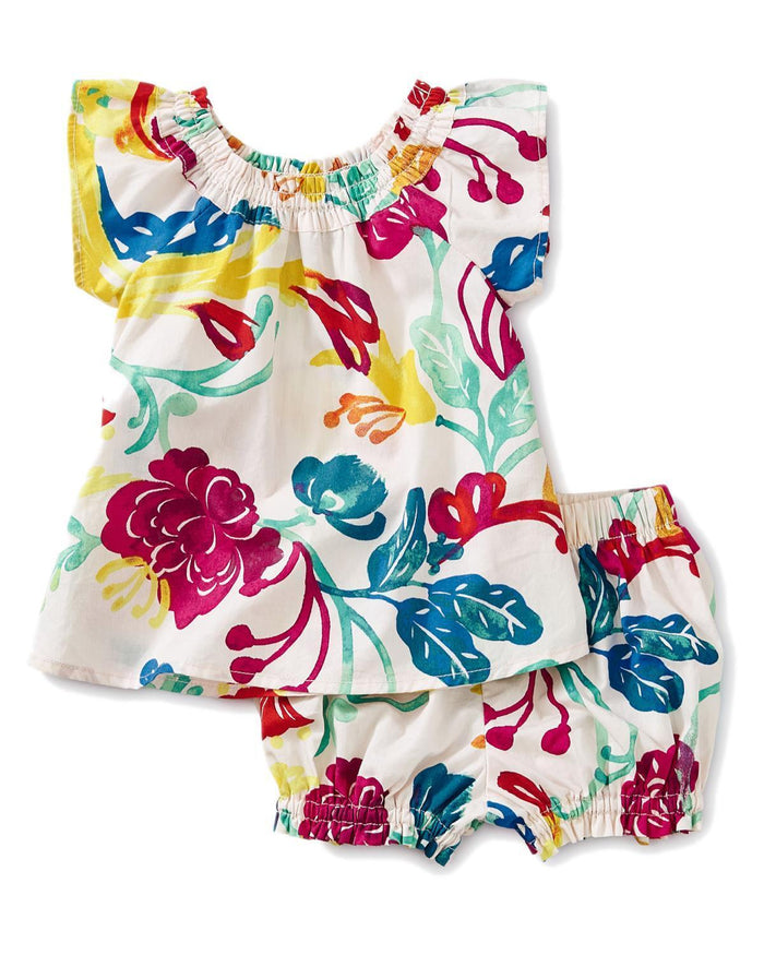 Little tea collection baby girl 12-18 woven floral baby set