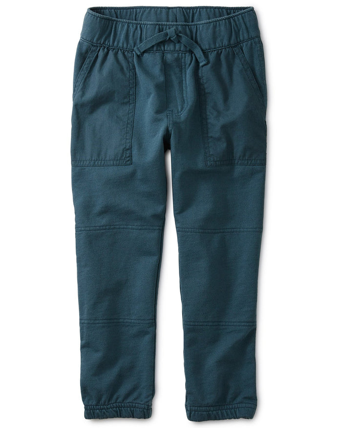 Little tea collection boy woven patch packet joggers in bedford blue