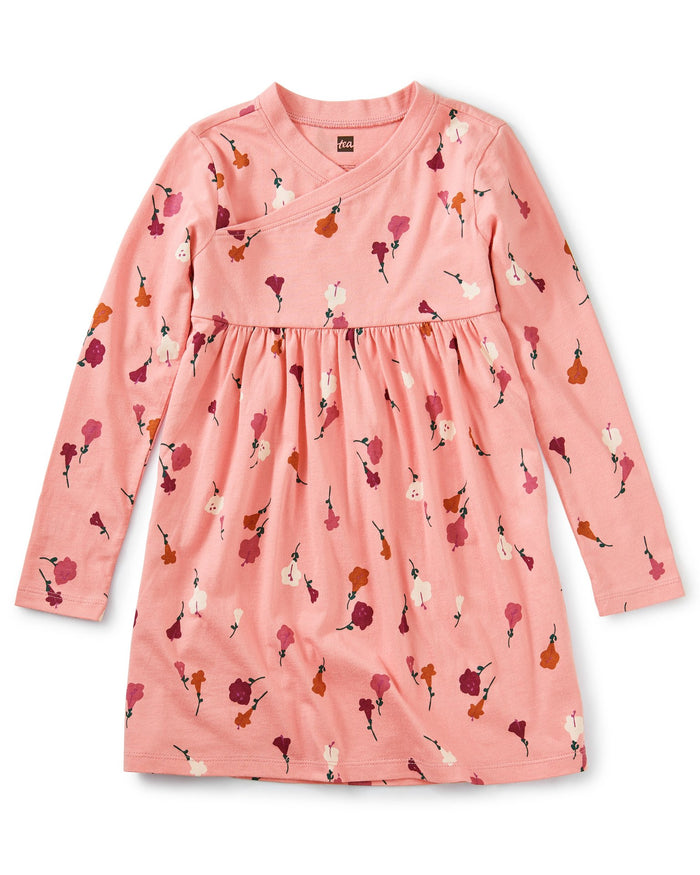 Little tea collection girl wrap neck dress in chiquita flora inca