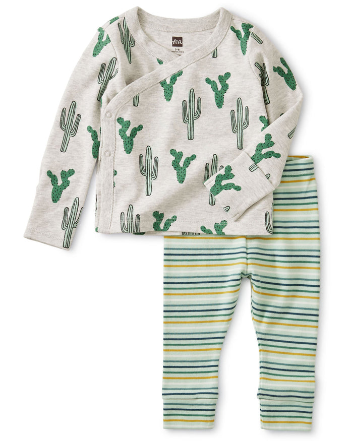 Little tea collection layette wrap top baby outfit in cacti