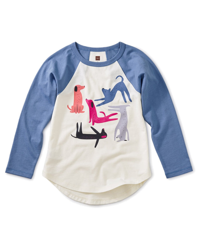 Little tea collection girl yoga dogs graphic raglan tee