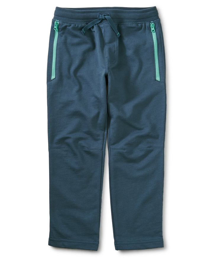 Little tea collection boy zip pocket joggers in copen blue