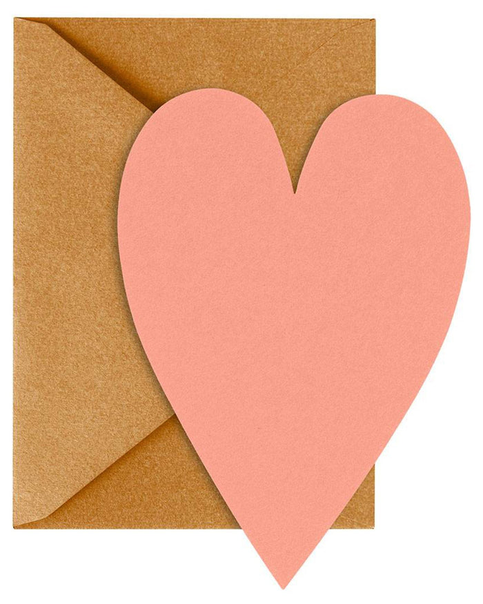 Little waste not paper paper+party coral heart notecard