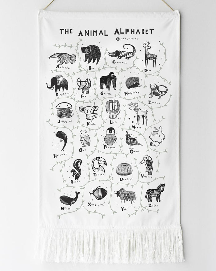 Little wee gallery room animal alphabet wall hanging