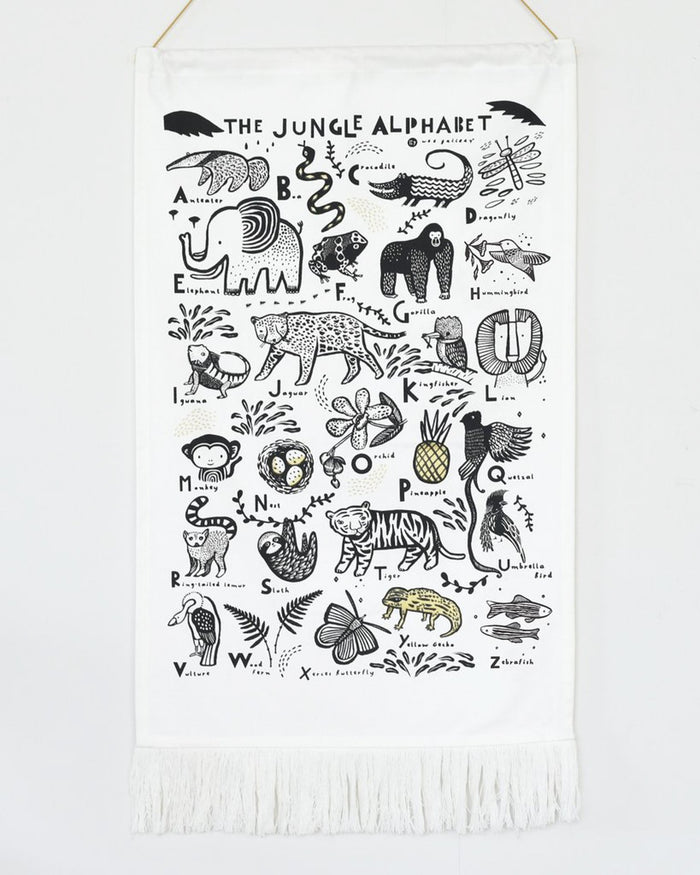 Little wee gallery room jungle alphabet printed tapestry